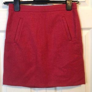 J Crew Red Mini Pencil Skirt 0 Pocket lined